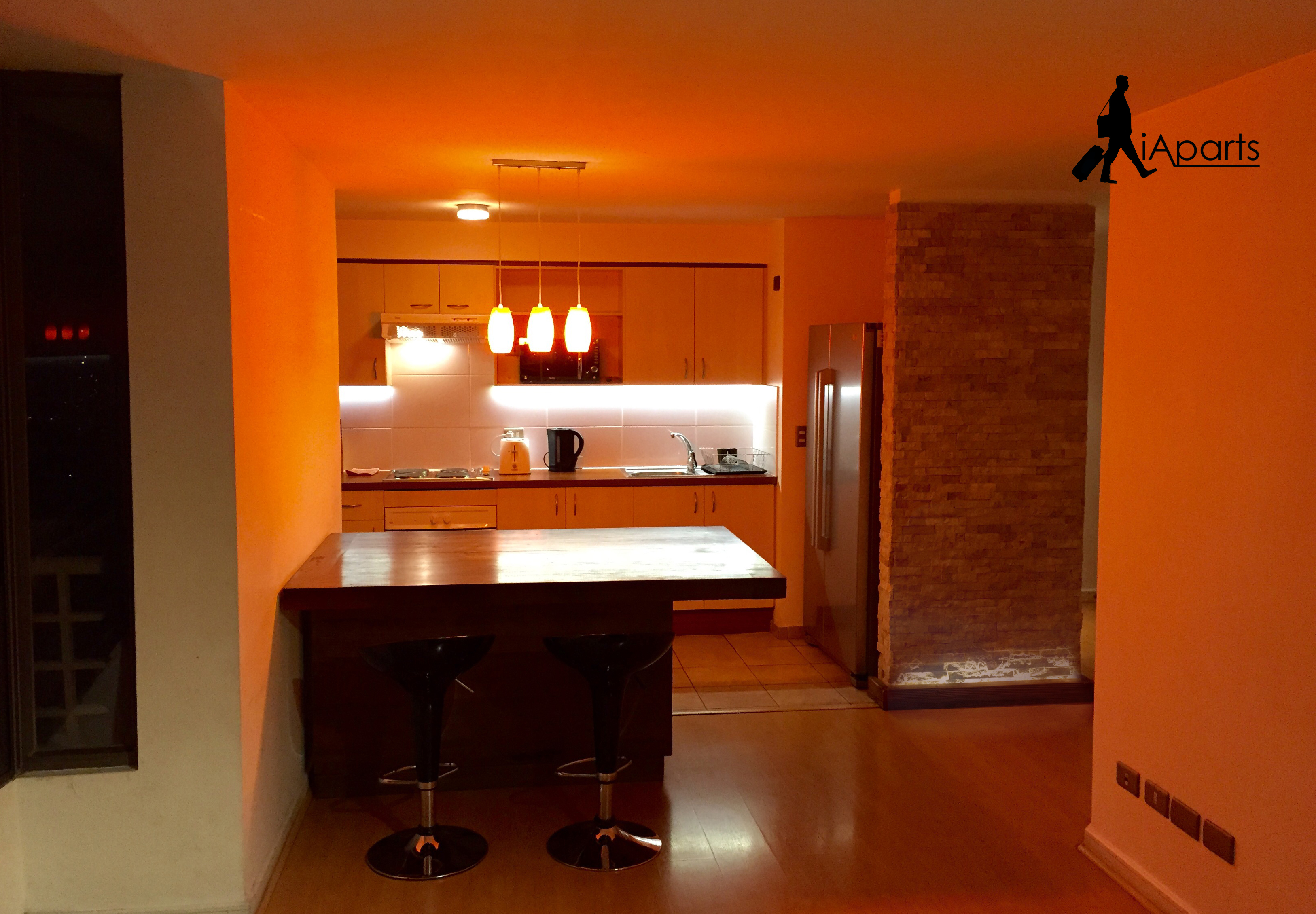 Accommodation in Rancagua, Chile. Open concept kitchen.